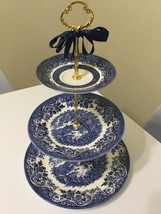 WEDDING BLUE WILLOW 3 Tier Cake Stand Tiered Serving Tray Cupcake Desser... - $64.30