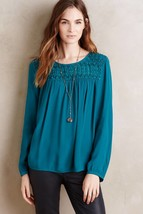 New Anthropologie Vivie Blouse by Meadow Rue Size SMALL $98 Teal - $33.66