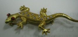 Miriam Haskell Lizard has clear and red rhinestones brooch - $39.59