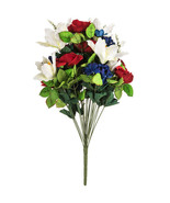 Red White Blue Red Rose, White Lily, Mixed Bush - $15.00