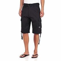 JMC Men's Premium Cotton Slim Fit Cargo Shorts with Woven Belt (36W, Black)