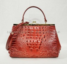 NWT Brahmin Juliette Kisslock Leather Satchel/Shoulder Bag in Lava Melbo... - $239.00