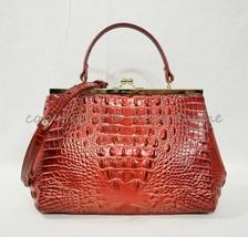 NWT Brahmin Juliette Kisslock Leather Satchel/Shoulder Bag in Lava Melbo... - $239.00