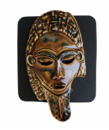 Ritchart Handcrafted Artisan Ceramic Theater Drama Mask Pin Brooch Brown... - $27.89
