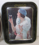 Primary image for Vintage 1970s Reproduction Rectangular Coca Cola Tin Tray Flapper Girl