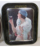 Vintage 1970s Reproduction Rectangular Coca Cola Tin Tray Flapper Girl - $29.89
