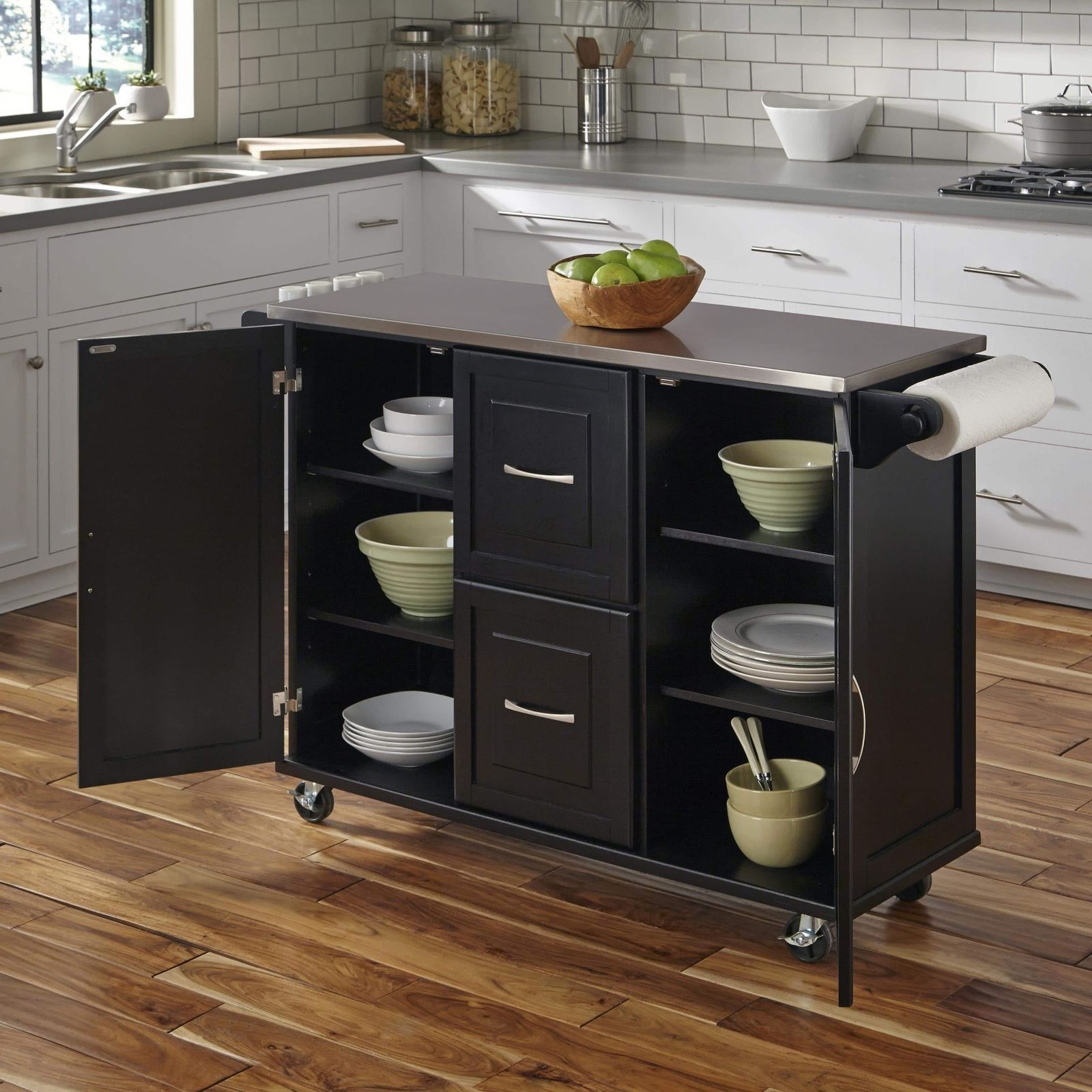 kitchen storage island cart black large kitchen island utility cart rolling cabinet storage stainless table kitchen 5688