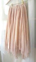 "Blush Long Tulle Skirt Blush Wedding Bridesmaid Skirt High Waisted 27.5"" long image 6"