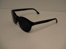 DIESEL Neuf Soleil DL115 Noir Brillant Miroir Bleu 01X Rond avec Cuir Étui - $74.66