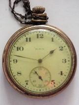 Antique 1920 Elgin 15j Pocket Watch 12s Parts or repair - $39.00