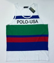 Polo Ralph Lauren Men's Tank Top White Stripes Blue Green 100% Cotton  L... - $25.73