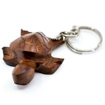 Hand Carved Ironwood Wood Folk Art 3D Sea Turtle Keychain image 3