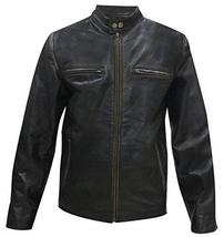 Mark Wahlberg Daddy's Home Dusty Biker Distressed Black Leather Jacket image 1
