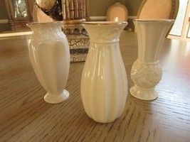 LENOX CHINA SET OF 3 CLASSIC BUD VASES CARVED PATTERNS IVORY WITH GOLD R... - $14.80