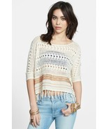 NWOT FREE PEOPLE FRINGED CROCHET BOHO SWEATER PULLOVER TOP M - $49.49