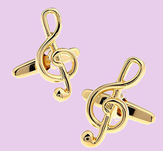 Golden clef music theme cufflinks gift boxed