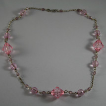 .925 RHODIUM SILVER NECKLACE WITH PINK CRYSTALS image 2