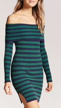 Forever 21 Ribbed Rib Off The Shoulder Midi Dress Navy Blue Green Stripe S NEW - $19.79