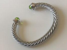 David Yurman Sterling Silver & 18k Gold PERIDOT 7mm Cable Classic Bracelet - $449.99