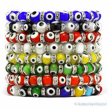 Evil Eye 8mm Bead Lampwork Turkish Nazar Hamsa Judaica Kabbalah Stretch Bracelet - $9.99