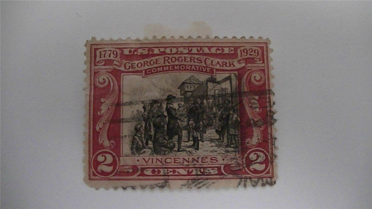 George Rogers Clark Commemorative Carmine And Black USA Used 2 Cent Stamp