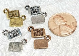 2pcs. Made With Love Jewelry Tags Fine Pewter Pendant Charms - 11x8.5x1mm image 2