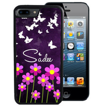 PERSONALIZED CASE FOR iPHONE X 8 7 6 5 SE PLUS RUBBER PURPLE FLOWER BUTT... - $13.98
