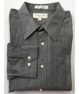 Vintage Christian Dior Men Long Sleeve Dress Shirt Grey 17 Cotton 34/35 - $46.43