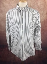 Polo Ralph Lauren Lowell Sport Shirt Long Sleeve White Black Stripe Mens XL - $18.76