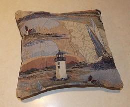 Blue Beige Lighthouse Print Decorative Pillow  12 x 11 - $24.95