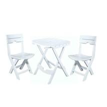 Outdoor Seating Furniture Three Piece Resin Plastic Bistro Cafe Set Bla... - $78.99