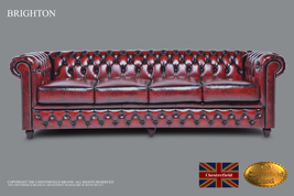 Original Chesterfield Brand Wash off Red Sofa,4 seats ,Real leather ,Han... - $5,149.00