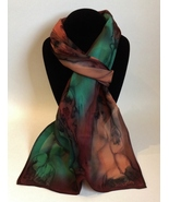 Hand Painted Silk Scarf Forest Green Redwood Brown Copper Black Rectangle  - $44.00