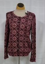 NWT Talbots Button Front Cardigan Sweater Womens M Red Metallic Geometri... - $19.35