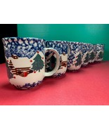 "6 Folk Craft CABIN IN THE SNOW 10 oz Coffee Mugs / Cups By Tienshan 3.75"" - $23.50"