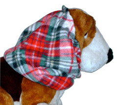 Red Green Black Diagonal Plaid Fleece Dog Snood by Howlin Hounds Sz Pupp... - $9.50