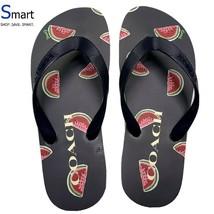 NEW SIZE 6 WOMEN Coach Logo Flip Flops Sandals Slippers Watermelon Print Beach - $39.59