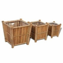 vidaXL Planter Set 3 Pieces Bamboo w/ Liner Outdoor Garden Flower Plant Pot - $53.99