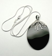 "LARGE 2.5"" Sterling SILVER Black - Brown MOP pendant & chain Necklace 18""  - $19.26"