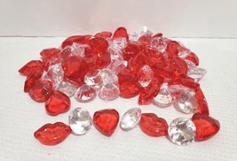 Valentines Day Lips Hearts Gems Red Clear Bowl Filler Table Scatter Deco... - $13.99