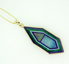 Kaufmann 14k Gold Genuine Natural Opal Intarsia Inlay Pendant (#J5084) - $950.00