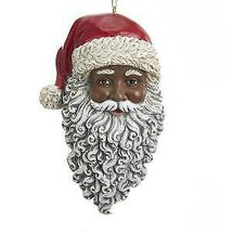 African American Santa Head Ornament w - $13.99
