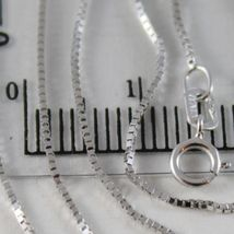 18K WHITE GOLD CHAIN MINI 0.8 MM VENETIAN SQUARE LINK 23.60 INCH. MADE IN ITALY image 3