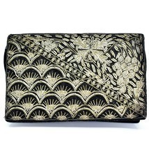 Vintage Black Velvet Gold Metallic Embroidered Purse Clutch Handmade in ... - €44,60 EUR