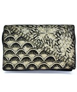Vintage Black Velvet Gold Metallic Embroidered Purse Clutch Handmade in ... - £18.90 GBP