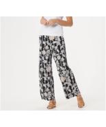 Bob Mackie Regular Balinese Floral Striped Print Pull-On Pants,Black,Siz... - $24.74