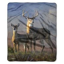 Clearing Sky Deer American Heritage Woodland Plush Raschel Throw blanket - $23.75