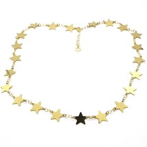 18K YELLOW GOLD NECKLACE, FLAT STARS, STAR, 16 INCHES, MADE IN ITALY image 1