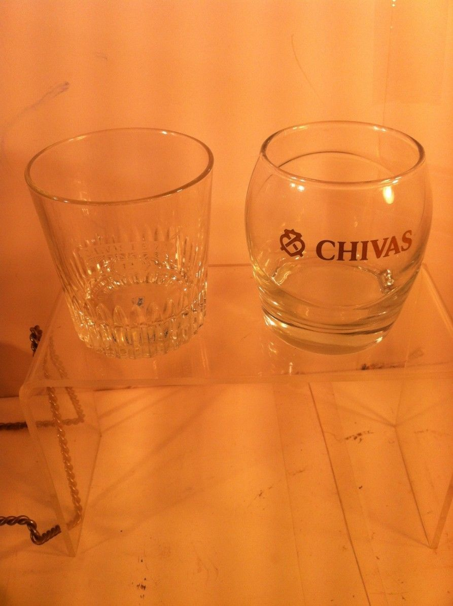 Primary image for (2)  CHIVAS REGAL SCOTCH WHISKEY GLASSES--TUMBLER / COCKTAIL- -FREE SHIP---VGC