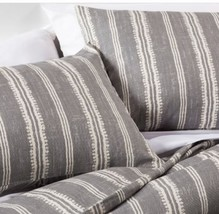 The Industrial Shop Edison Full Queen Gray Stripe Comforter Set 3 pc New - £45.41 GBP